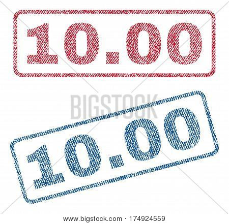 10.00 text textile seal stamp watermarks. Blue red fabric vectorized texture. Vector caption inside rounded rectangular banner. Rubber sign with fiber textile structure.