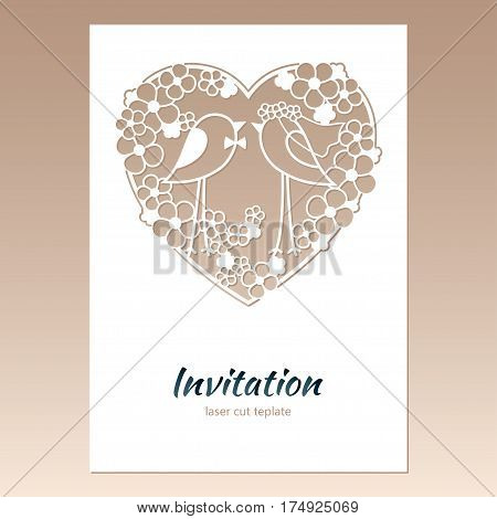 Card invitation with openwork heart and two birds. Laser cutting template for greeting cards envelopes wedding invitations decorative elements.