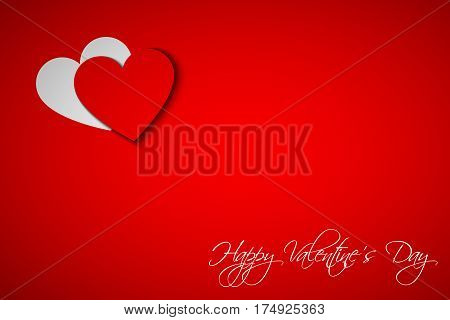 Happy Valentines day card with heart on red background vector illustration