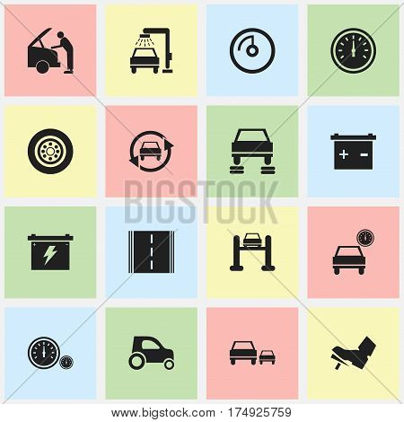 Set Of 16 Editable Transport Icons. Includes Symbols Such As Speed Control, Car Fixing, Accumulator And More. Can Be Used For Web, Mobile, UI And Infographic Design.