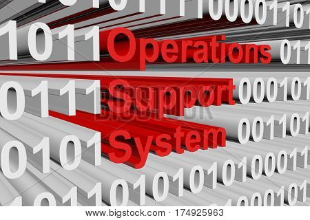 operations support system in a binary code with blurred background 3D illustration