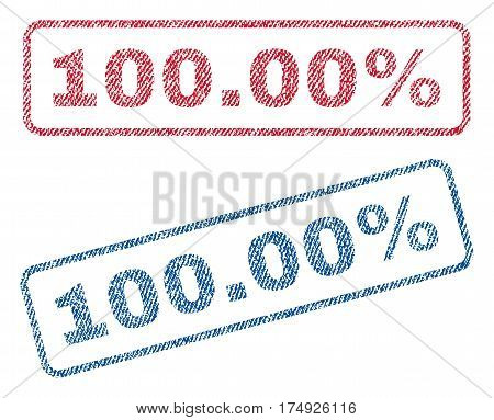100.00 Percent text textile seal stamp watermarks. Blue red fabric vectorized texture. Vector tag inside rounded rectangular banner. Rubber emblem with fiber textile structure.