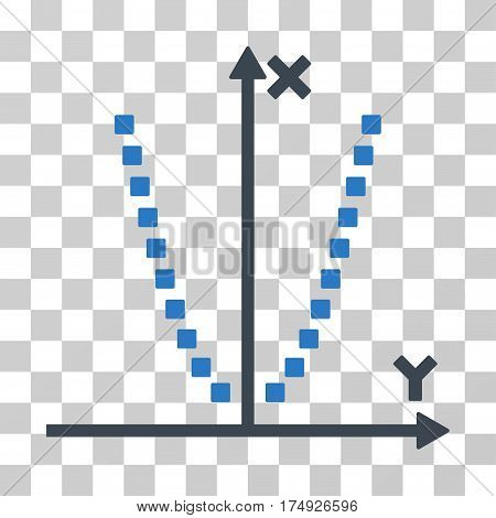 Parabole Plot icon. Vector illustration style is flat iconic bicolor symbol smooth blue colors transparent background. Designed for web and software interfaces.