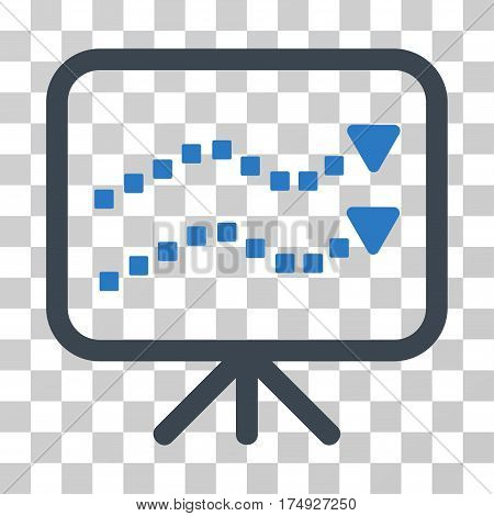 Trends Presentation icon. Vector illustration style is flat iconic bicolor symbol smooth blue colors transparent background. Designed for web and software interfaces.