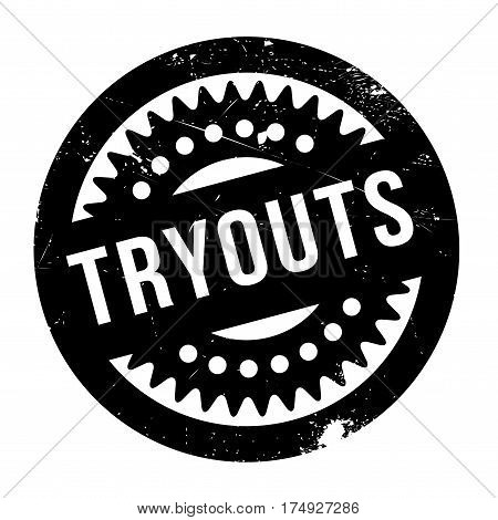 Tryouts rubber stamp. Grunge design with dust scratches. Effects can be easily removed for a clean, crisp look. Color is easily changed.