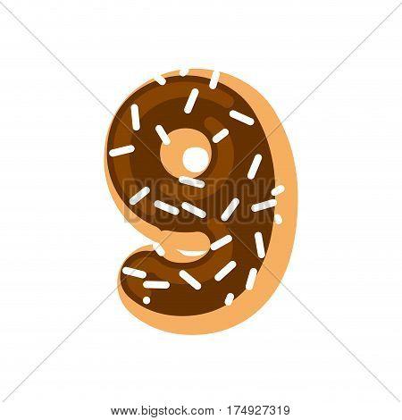 Number 9 Donut. Doughnut Font Nine. Sweet Alphabet. Candy Lettering. Food Abc Sign