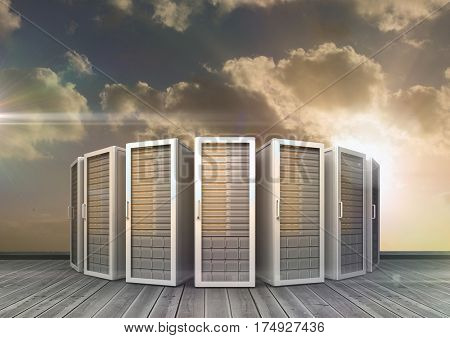 Digitally composite of server rooms arranged in a row against bright sunlight