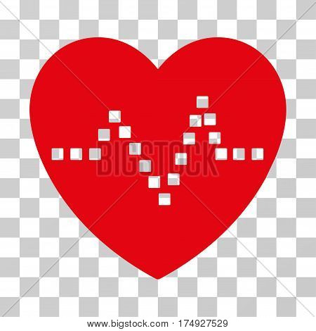 Heart Pulse icon. Vector illustration style is flat iconic symbol intensive red color transparent background. Designed for web and software interfaces.