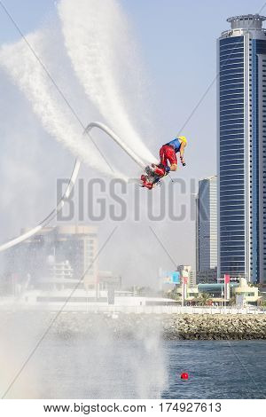 Extreme sportsman on flaybord performs tricks in the competitions in extreme sports in Dubai,UAE