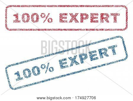 100 Percent Expert text textile seal stamp watermarks. Blue red fabric vectorized texture. Vector tag inside rounded rectangular banner. Rubber sign with fiber textile structure.