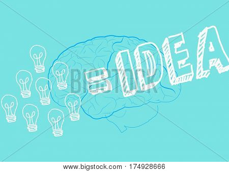 Digitally generated of innovative bulb and brain drawn on green background with text idea