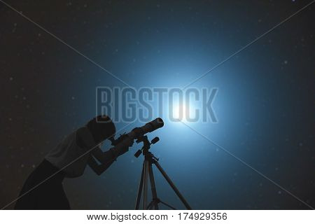 Girl looking at the stars through a telescope. My astronomy work.