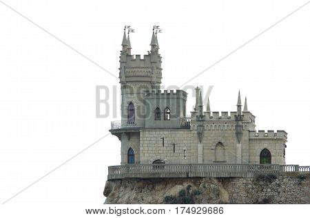 Swallow's Nest castle located in Crimea isolated on a white background.