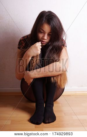 young asian woman with scars from deliberate self-harm poster