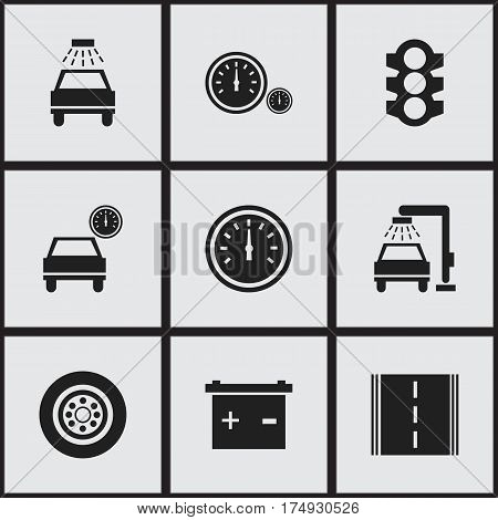 Set Of 9 Editable Car Icons. Includes Symbols Such As Accumulator, Stoplight, Automobile And More. Can Be Used For Web, Mobile, UI And Infographic Design.