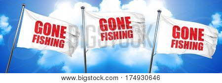 gone fishing, 3D rendering, triple flags