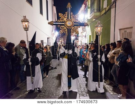 Badajoz, Spain - March 25, 2016: Easter week (Semana Santa), Nazarene processions, celebrations of international interest