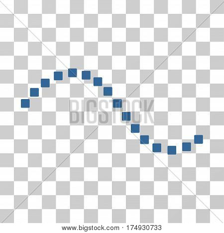 Dotted Function Line icon. Vector illustration style is flat iconic symbol cobalt color transparent background. Designed for web and software interfaces.