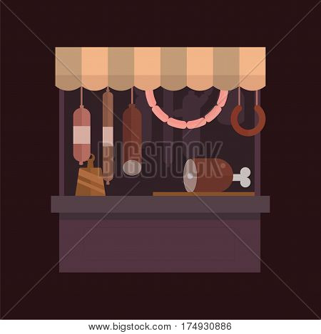 Meat shop stall with meats products. Meat pork, beef, steak, ham shop stall isolated. Food shop, sausage, butcher