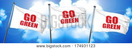 go green, 3D rendering, triple flags
