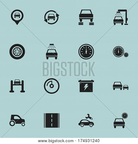 Set Of 16 Editable Car Icons. Includes Symbols Such As Car Lave, Speed Control, Pointer And More. Can Be Used For Web, Mobile, UI And Infographic Design.