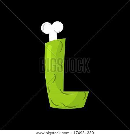 Letter L Zombie Font. Monster Alphabet. Bones And Brains Lettering. Green Terrible Abc Sign