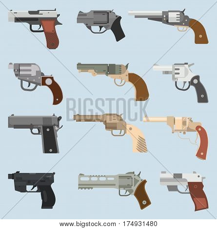 Weapons vector handguns set. Pistols, submachine hand guns icons. Silhouette handguns set isolated on white background. Military bullet handgun ammunition army tool.