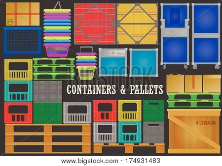 Vector set of flat wood, plastic, metal containers and pallets for transportation and storage of goods on black background.
