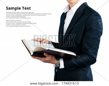 Businessman wearing in a suit wearing suit holding book isolated on white background sample text clipping path