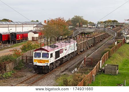 QUAINTON, UK - OCTOBER 16: A GBRF freight train hauls spoil from Londons Crossrail project to a landfill site on October 16, 2014, in Quainton. GBRf, founded in 1999 operates a fleet of 120 locos