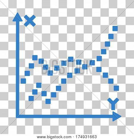 Functions Plot icon. Vector illustration style is flat iconic symbol cobalt color transparent background. Designed for web and software interfaces.