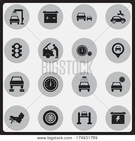 Set Of 16 Editable Car Icons. Includes Symbols Such As Speed Control, Auto Service, Treadle And More. Can Be Used For Web, Mobile, UI And Infographic Design.