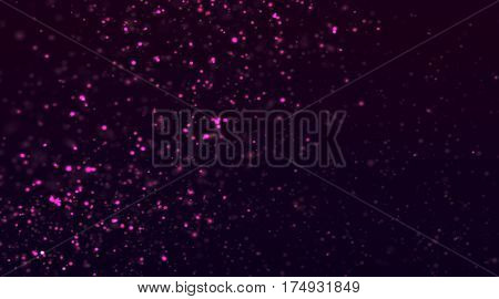 Abstract Pink Glitter Explosion on Black Background
