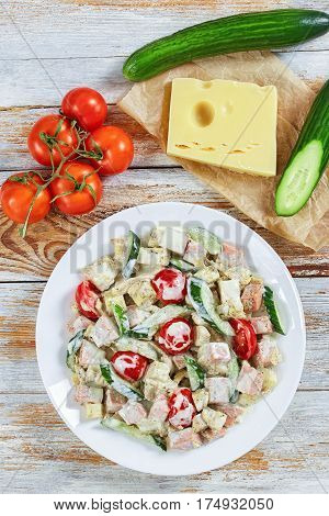 Cucumber, Cheese, Omelette, Ham, Tomato Salad