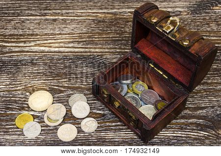 Treasure Chest With Coins, Rare Finds.