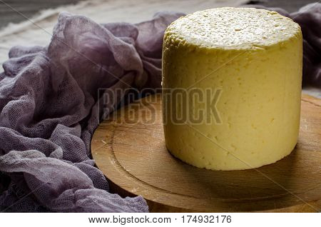 Head Farmhouse Cheese On Wooden Round Board