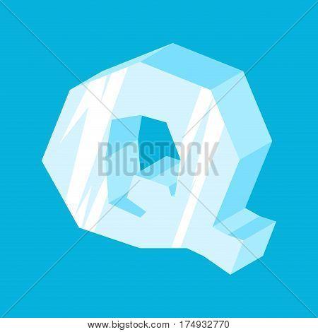 Letter Q Ice Font. Icicles Alphabet. Freeze Lettering. Iceberg Abc Sign