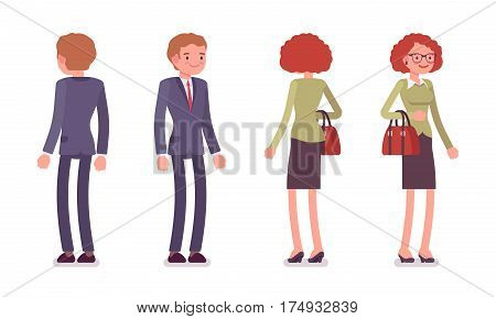 Set of young smiling male and female office workers in a smart formal wear, standing poses, fellow employees, colleagues, full length, front and rear view isolated against white background