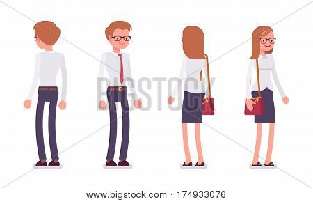Set of young smiling male and female busy clerk in a smart formal wear, white-collar workers in standing poses, full length, front and rear view isolated against white background