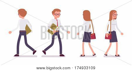 Set of young smiling male and female busy clerk in a smart formal wear, white-collar workers in walking poses, conducting general office tasks, full length, front, rear view isolated, white background