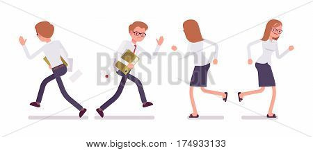 Set of young unhppy male and female busy clerk in a smart formal wear, white-collar workers in running poses, performing urgent office tasks, full length, front, rear view isolated, white background