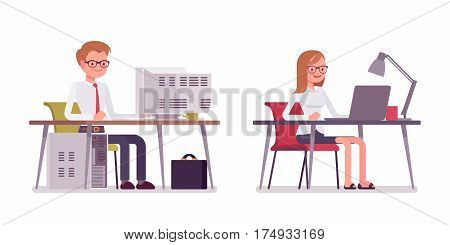 Set of young smiling male and female clerk in a smart formal wear, sitting poses, fellow employees working at computer and laptop at the desk, coworking space, full length, isolated, white background