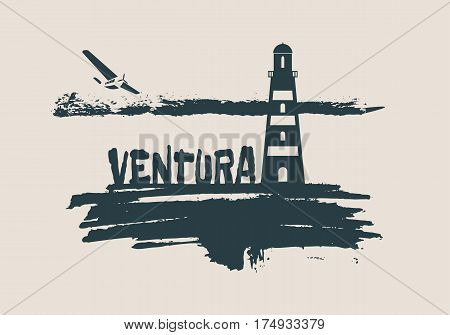 Lighthouse on brush stroke seashore. Clouds line with retro airplane icon. Vector illustration. Ventura city name text.