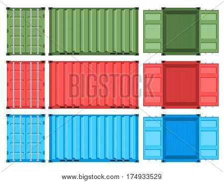 Set of metal containers for the shipping and transportation of goods. Cargo boxes. Flat style. Different colors. Isolated on white background. Vector graphic illustration.