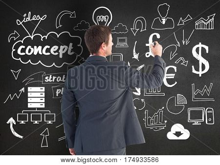 Digitally generated image of businessman drawing start up icons on chalkboard