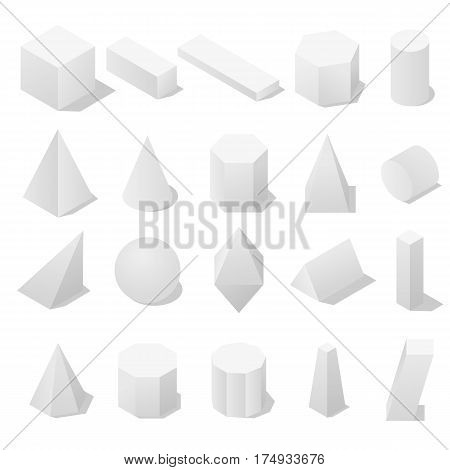Basic 3D geometric shapes with a shadow. Isometric view. The concept of school and education. Isolated on white background. Vector illustration.