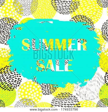 Summer creative sale poster. Colorful vector background