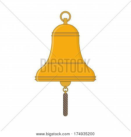 Golden Ship's bell in the flat style. Nautical equipment. Web icon Vector illustration.