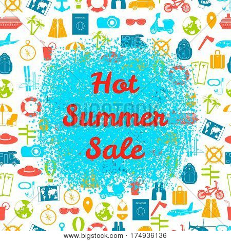 Hot summer sale poster on the blue spot. Colorful summer holiday travel background.