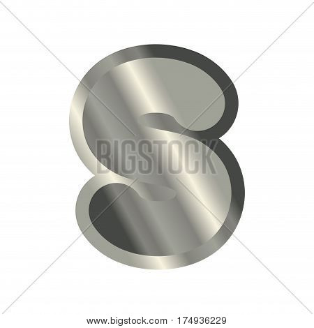 Letter S Steel Font. Metal Alphabet Sign. Iron Abc Symbol. Chromium Lettering. Silver Typography